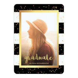 Glam Faux Gold Confetti | Photo Graduation Party Card