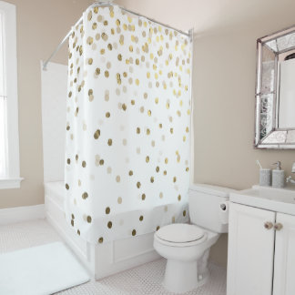 Glam Faux Gold Confetti Shower Curtain