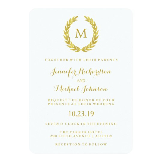Glam Faux Gold Foil Laurel Wreath Monogram Wedding