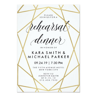 Glam Faux Gold Geometric Wedding Rehearsal Dinner 13 Cm X 18 Cm Invitation Card