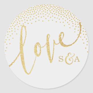 Glam faux gold glitter calligraphy love monogram round sticker
