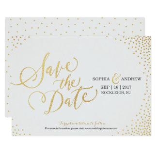 Glam faux gold glitter calligraphy save the date card