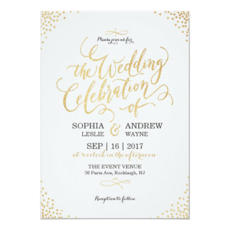 Glam faux gold glitter calligraphy vintage wedding 13 cm x 18 cm invitation card
