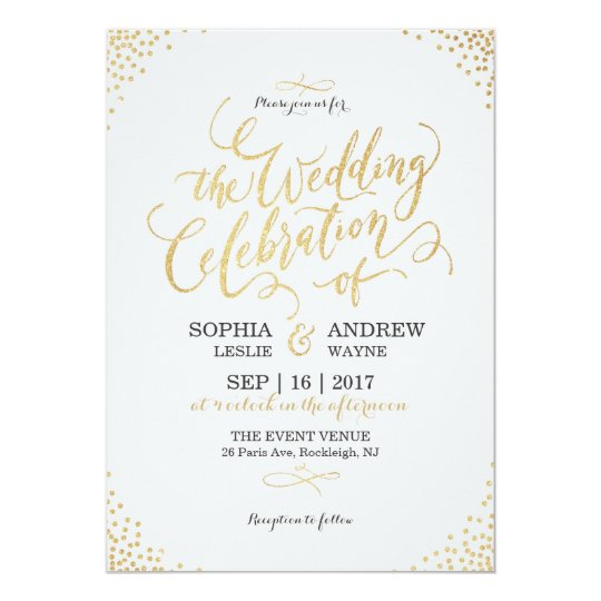 Glam faux gold glitter calligraphy vintage wedding card