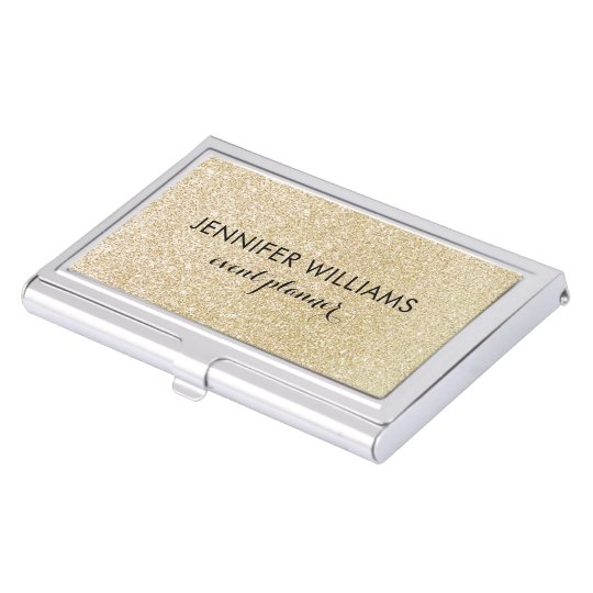 Glam Faux Gold Glitter Look Business Card Holder