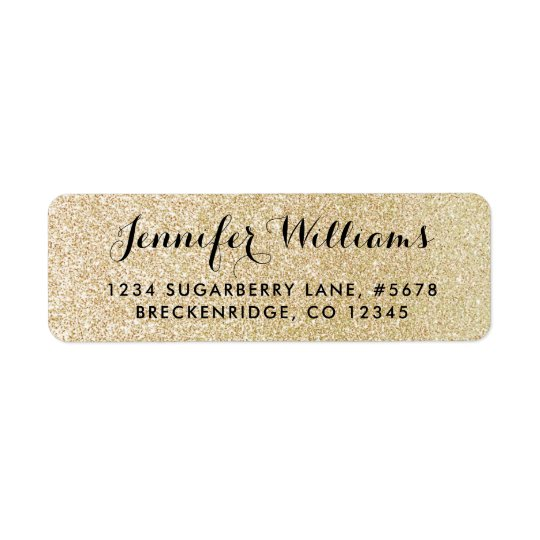 Glam Faux Gold Glitter Look Return Address Label
