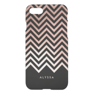 Glam Faux Rose Gold and Black Chevron iPhone 7 Case