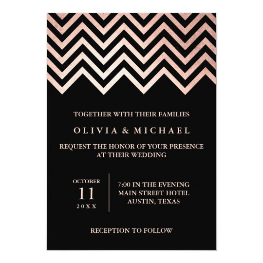 Glam Faux Rose Gold Chevron and Black Wedding