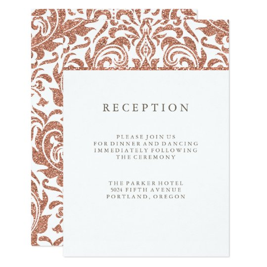 Glam Faux Rose Gold Glitter Damask Reception Card