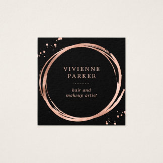 Glam Faux Rose Gold Look on Black Square Business Card