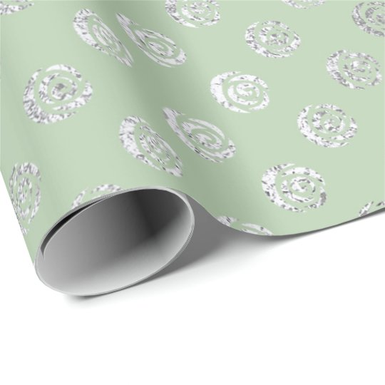 Glam Floral Roses Gray Silver Mint Green Pastel