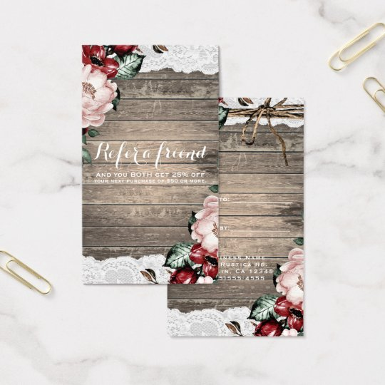 Glam Floral Rustic Wood & Lace Chic Refer
