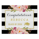 Glam Floral Stripes Congrats Grad Graduation Sign