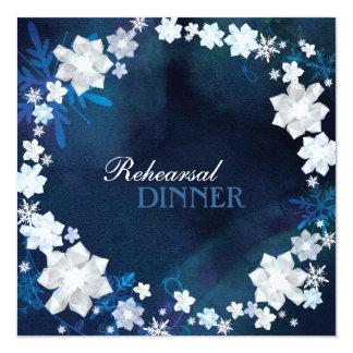 Glam Floral Wreath Winter Wedding Rehearsal Dinner Card