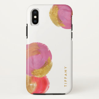 Glam Fuchsia Pink and Gold Circles on White iPhone X Case