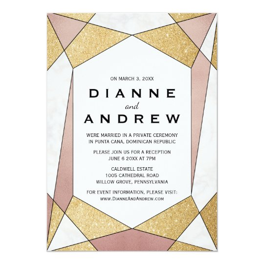 Glam Geometric Diamond Elopement Reception Card