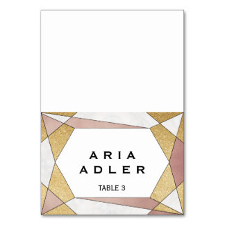 Glam Geometric Diamond Escort Place Cards