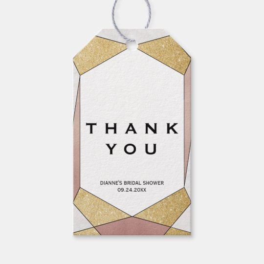Glam Geometric Diamond Thank You Gift Tags