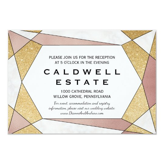 Glam Geometric Diamond Wedding Reception Insert Card