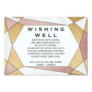 Glam Geometric Diamond Wedding Wishing Well Card