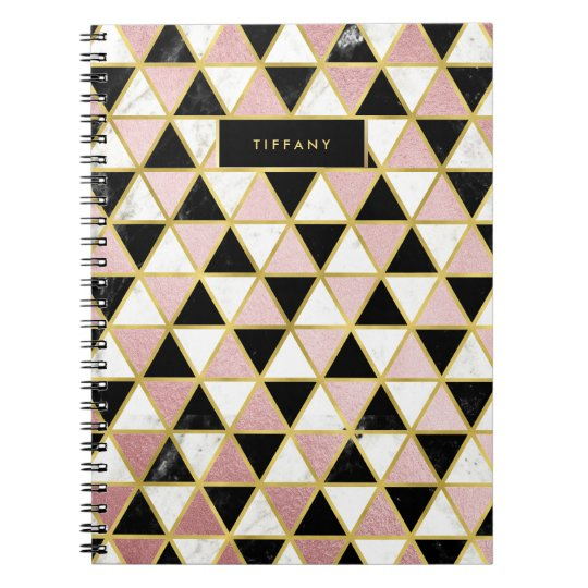 Glam Geometric Marble and Pink Notebooks