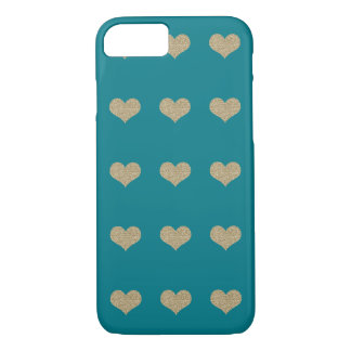 Glam Glitter Hearts Turquoise iPhone 7 Case