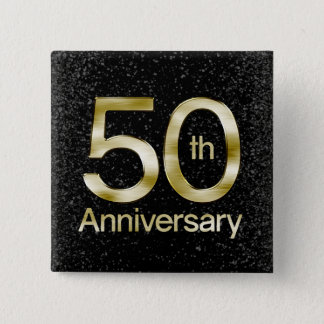 Glam Gold 50th Anniversary 15 Cm Square Badge