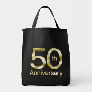 Glam Gold 50th Anniversary Grocery Tote Bag
