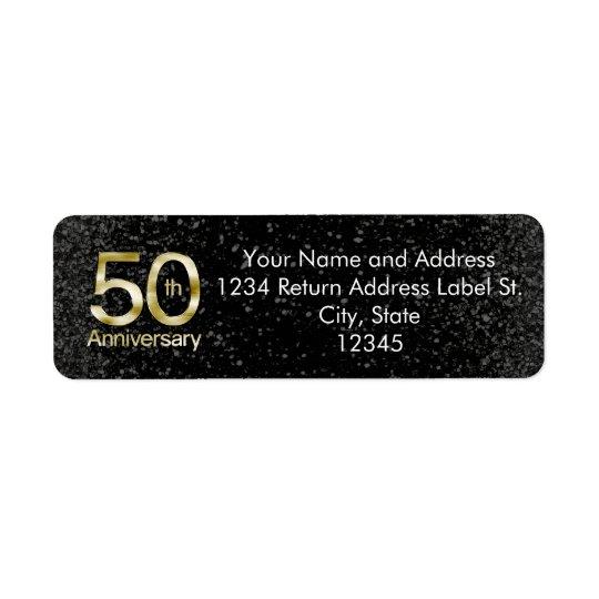 Glam Gold 50th Anniversary Return Address Label