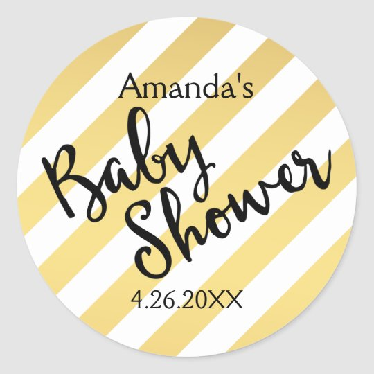 Glam Gold and White Stripes Baby Shower Classic