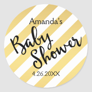 Glam Gold and White Stripes Baby Shower Round Sticker