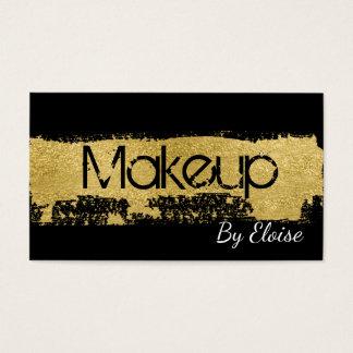 Glam Gold Brush Stroke Makeup Artist Business Card
