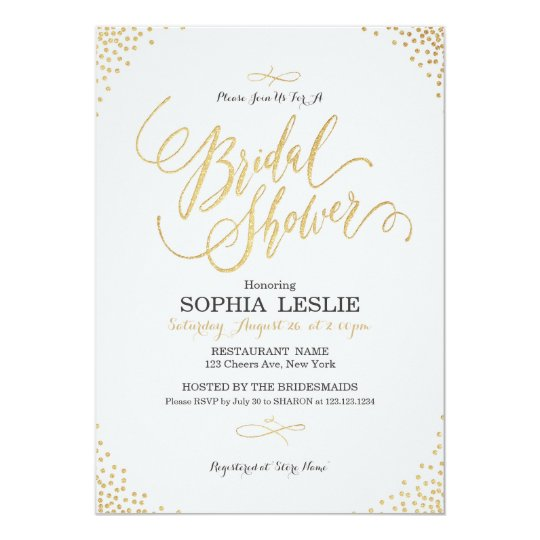 Glam gold calligraphy vintage Bridal Shower Card