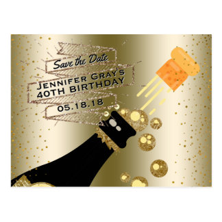 Glam Gold Champagne Save the Date Elegant Birthday Postcard