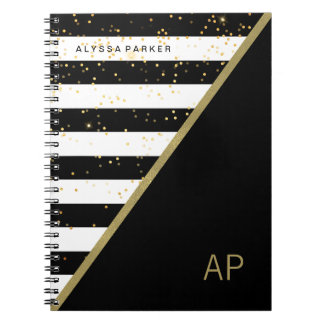 Glam Gold Confetti and Black and White Stripes Notebook