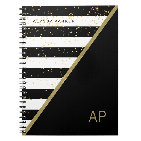 Glam Gold Confetti and Black and White Stripes
