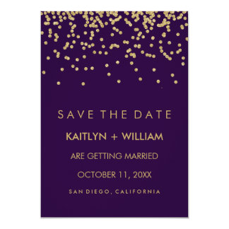 Glam Gold Confetti and Deep Purple Save the Date Card