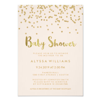 Glam Gold Confetti Baby Shower on Blush Pink Card