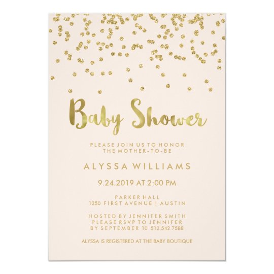 Glam Gold Confetti Baby Shower on Blush Pink