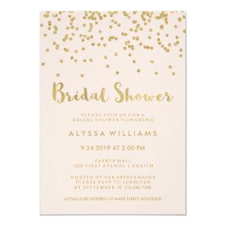 Glam Gold Confetti Bridal Shower on Blush Pink 13 Cm X 18 Cm Invitation Card