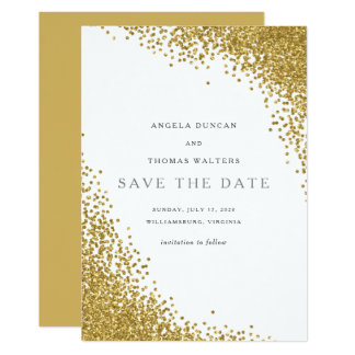 Glam Gold Confetti Dots Save the Date Card