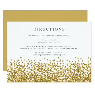 Glam Gold Confetti Dots Wedding Directions Card
