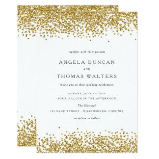 Glam Gold Confetti Dots Wedding Invitation