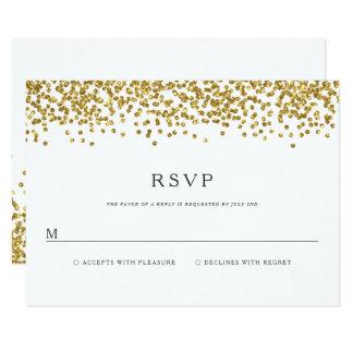 Glam Gold Confetti Dots Wedding RSVP card