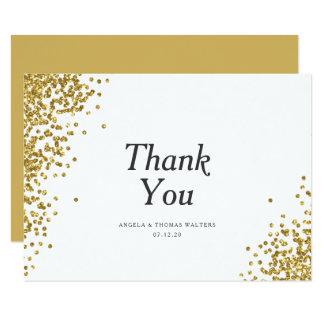 Glam Gold Confetti Dots Wedding Thank You Card