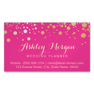 Glam Gold Dots Decor - Trendy Girly Hot Pink Magnetic Business Card