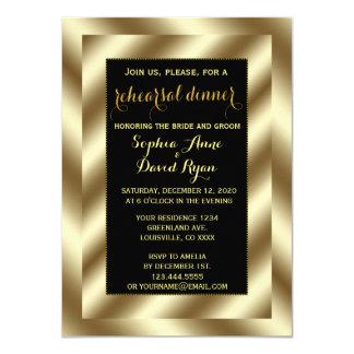 Glam Gold Foil and Black Rehearsal Dinner Invite