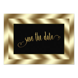 Glam Gold Foil and Black Wedding Save The Date 11 Cm X 16 Cm Invitation Card