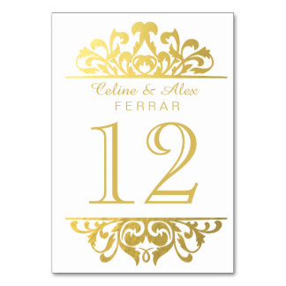 Glam Gold Foil Flourish Table Numbers | white Table Card