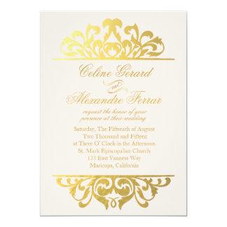 Glam Gold Foil Flourish Wedding | blush gold 13 Cm X 18 Cm Invitation Card
